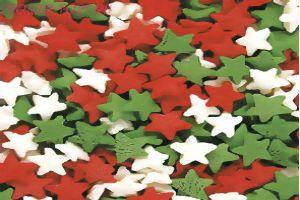 Посыпка   Звёзды красно-бело-зелёные 50 гр.