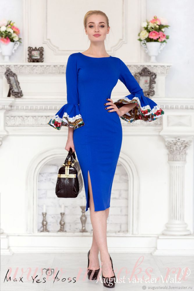 Платье футляр синее с рукавами