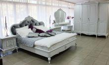 Спальня БАРОККО белый с платиновой патиной 4-дверный шкаф