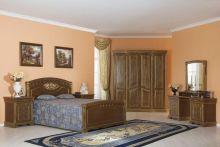 Спальня ЛАУРА орех с золотой патиной 4-дверный шкаф