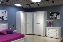Спальня НАОМИ белый с белой патиной 4-дверный угловой шкаф