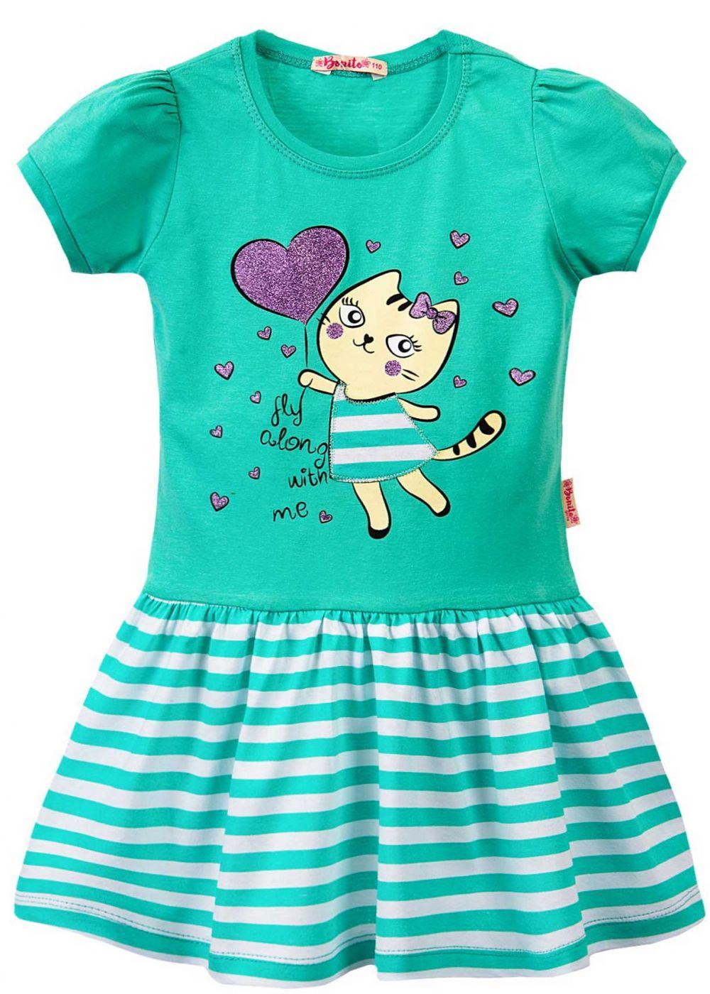 Платье с блестящим принтом кошечка зеленое