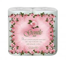 """Бумажные полотенца двухслойные """"Gentle Soft"""" с ароматом """"Европы"""" с тиснением, 2 рулона"""