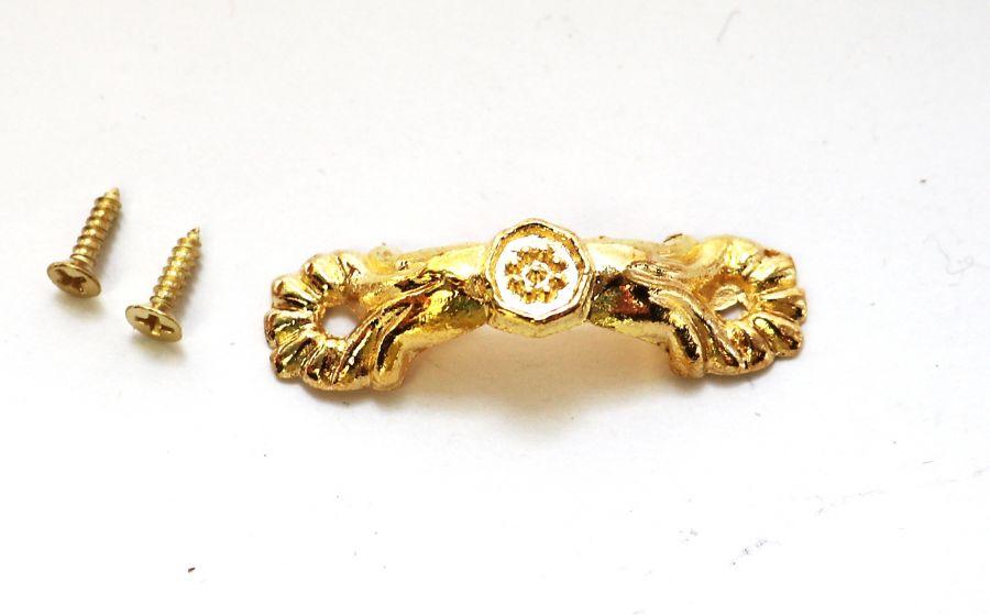 Ручка скоба Цветочек, золото, 36 мм, 1 шт/упак