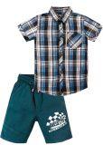 Костюм для мальчика 2-5 лет рубашка и шорты Bonito бирюзово-синий