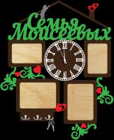 Часы настенные с фоторамками и ключницей семья