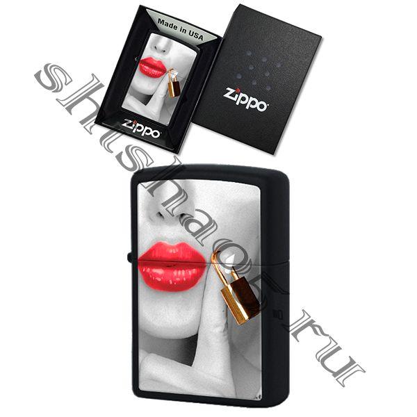 Zippo 29089 - Locked Lips, (black matte)
