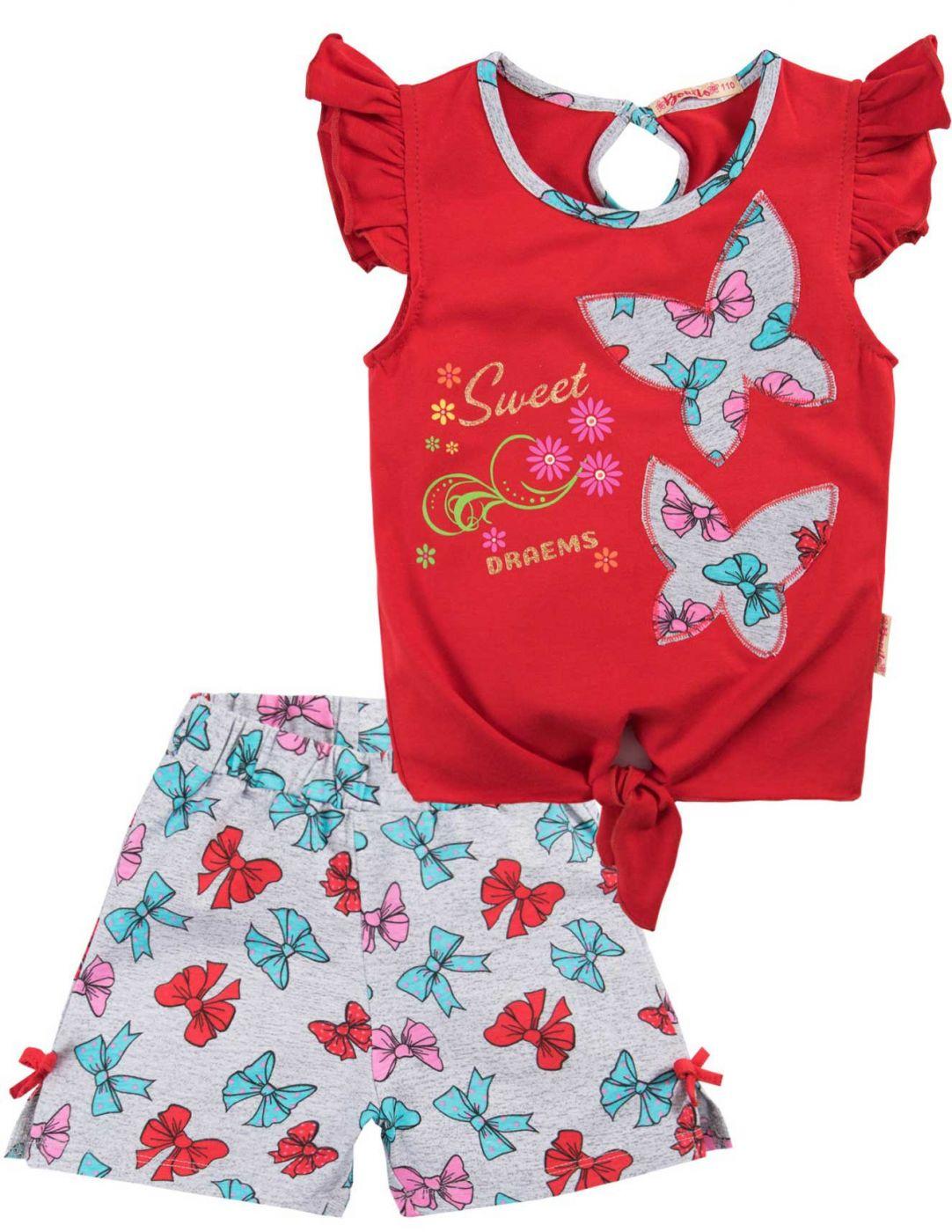 Летний костюм для девочек Bonito красный бабочки