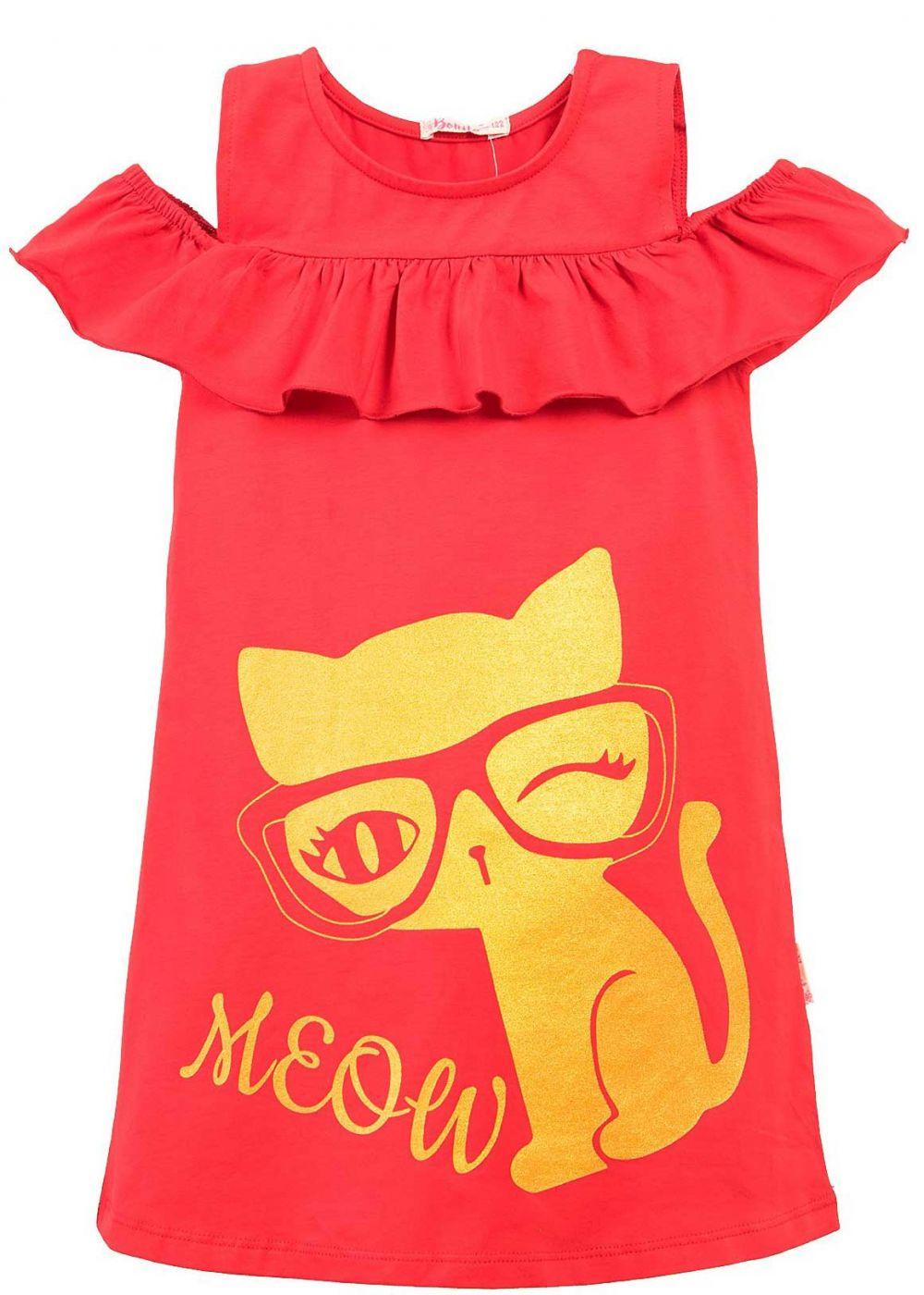 Платье на девочки Bonito красное с кошкой
