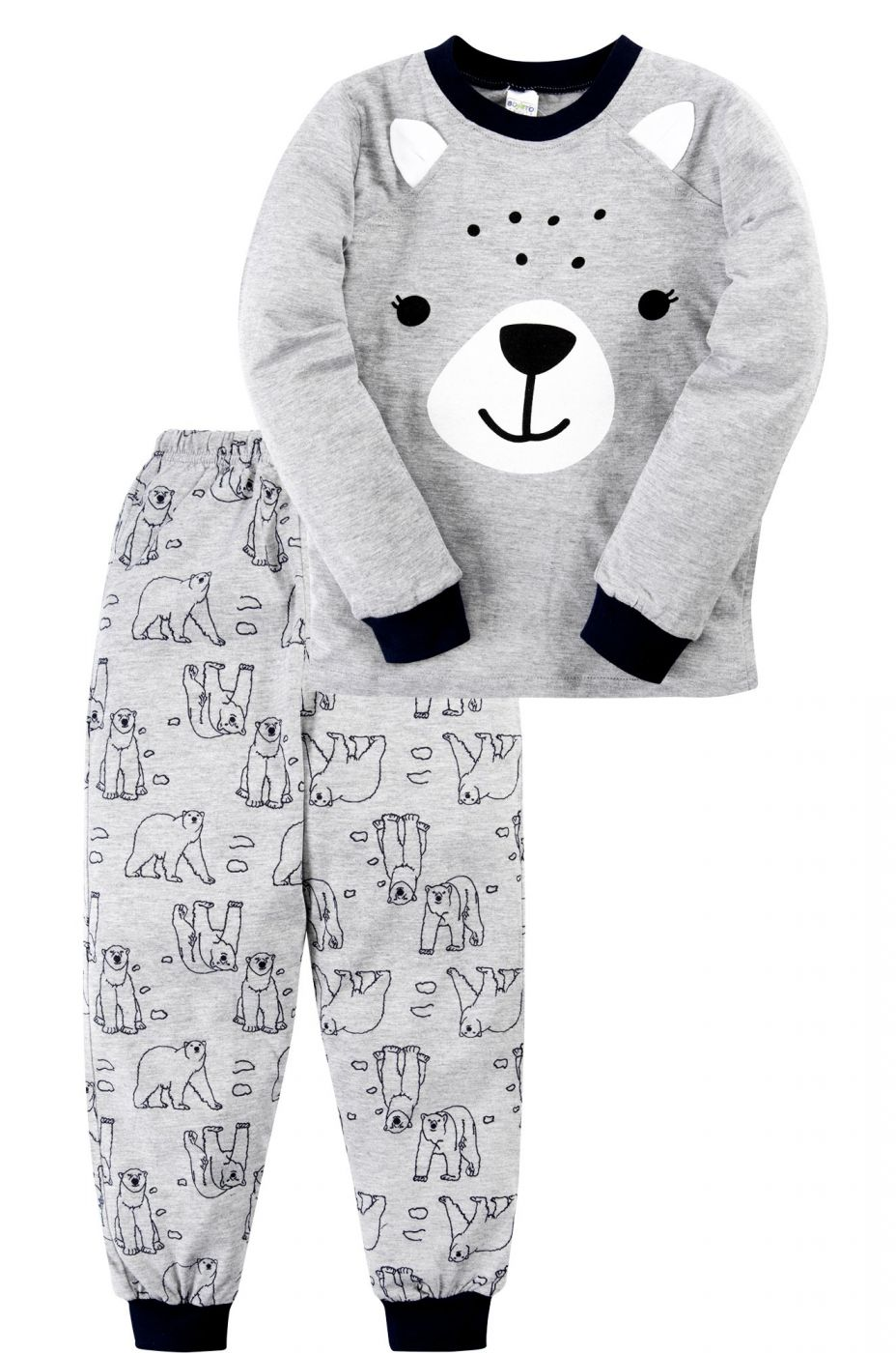 Пижама для мальчика серая с медвежьей мордочкой