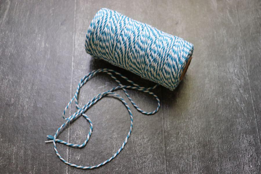 Шнур хлопковый, крученый, Бело-синий, 10 м/упак