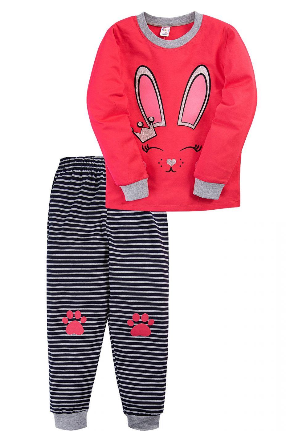 Пижама для девочки Bonito красная с мордочкой зайчонка