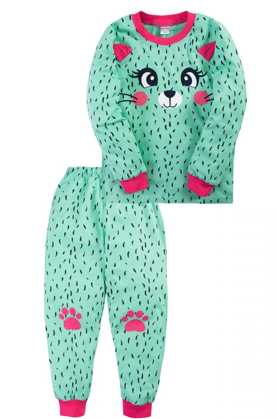 Пижама для девочки Bonito ментоловая с мордочкой кошки