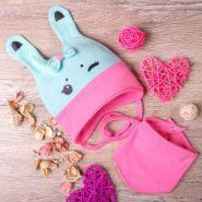 РБ Шапка с ушками и с бантиком+снуд, из двойного трикотажа, Зайка, бирюзовая с розовым