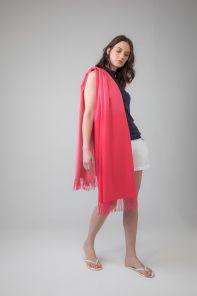 Роскошная классическая шотландская  шаль, высокая плотность, 100 % драгоценный кашемир , расцветка Розовый Омбрэ, OMBRE PINK CASHMERE (премиум).