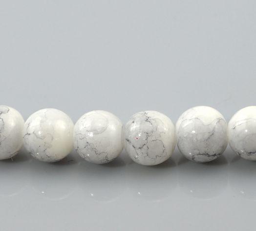 Бусина стеклянная, цвет белый с разводами, 8 мм, 20 шт/упак