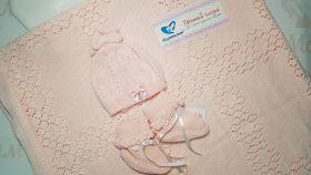 Комплект на выписку Журавлик   (плед+шапочка+пинетки), розовый