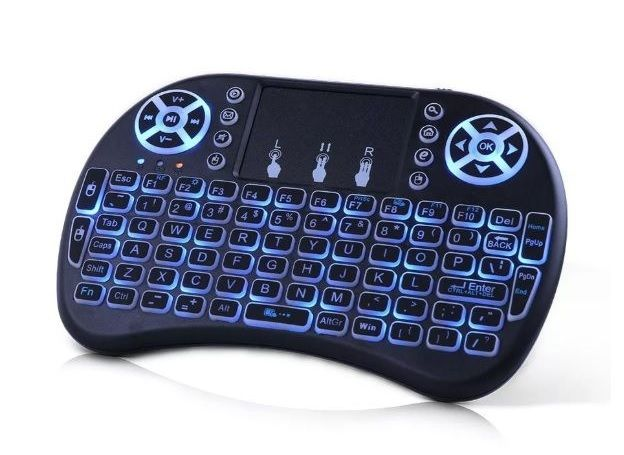 I8-L Беспроводная mini-клавиатура с английским тачпадом, с подсветкой, аккумулятор или батарейки, черная