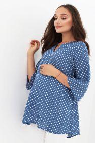 Блуза для беременных голубая в горошек арт 2091.2.2