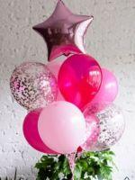 Фонтан из розовых шаров со звездой