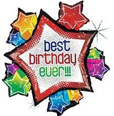 Звезда Лучший День Рождения (Best Birthday Ever!!!) шар фольгированный с гелием