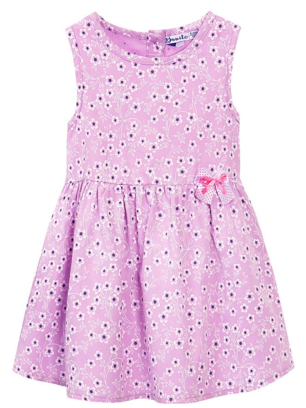 Сатиновое платье на девочки Bonito сиреневое в цветочек