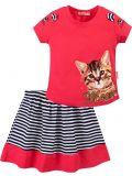 Костюм для девочек Bonito малиновый с кошкой