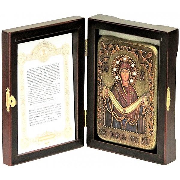 Инкрустированная рукописная икона Образ Божией Матери «Покров» (10*15 см, Россия) на натуральном мореном дубе, в подарочной коробке