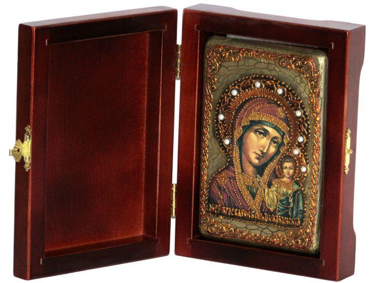 Инкрустированная настольная икона Божией Матери Казанской (10*15 см, Россия) на натуральном мореном дубе, в подарочной коробке
