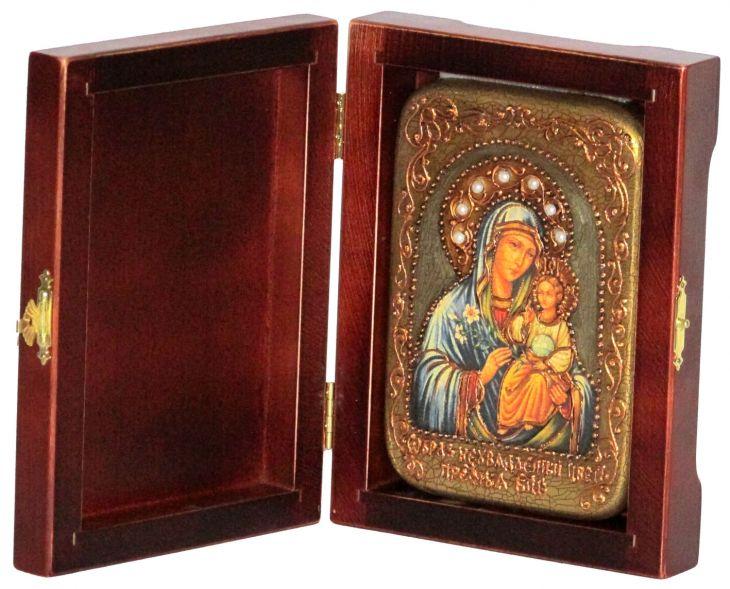 Настольная икона Божией Матери Неувядаемый Цвет (10*15 см, Россия) на натуральном мореном дубе, в подарочной коробке