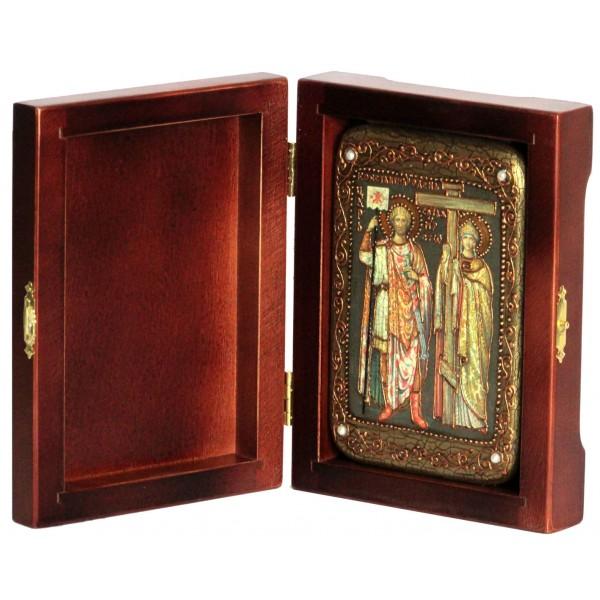 Инкрустированная настольная икона Святые равноапостольные Константин и Елена (10*15 см, Россия) на натуральном мореном дубе, в подарочной коробке