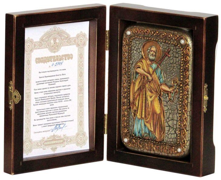 Инкрустированная настольная икона Первоверховный апостол Петр (10*15 см, Россия) на натуральном мореном дубе, в подарочной коробке
