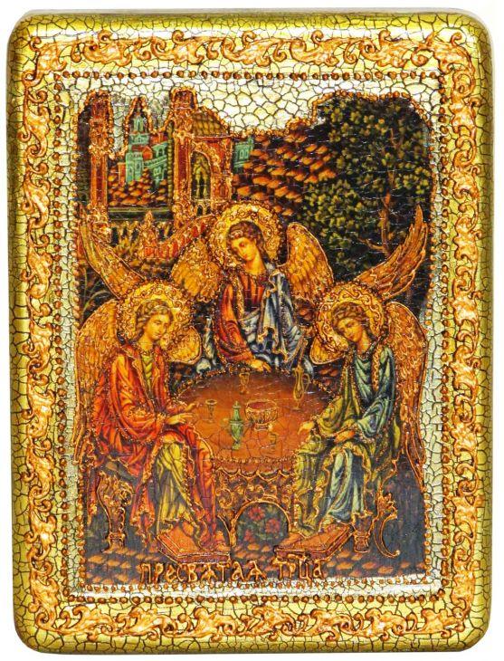 Инкрустированная подарочная икона Троица (15*20 см, Россия) на натуральном мореном дубе в подарочной коробке