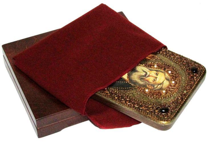 Инкрустированная икона Преподобный Серафим Саровский чудотворец (15*20 см, Россия) на натуральном мореном дубе в подарочной коробке