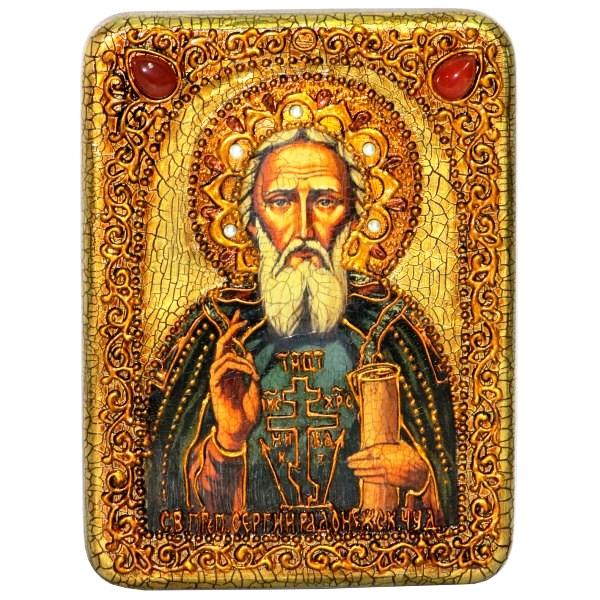 Инкрустированная подарочная икона Преподобный Сергий Радонежский чудотворец (15*20 см, Россия) на натуральном мореном дубе в подарочной коробке