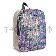 Рюкзак Феникс+ Пайетки крупные цветные/металлизированная искусственная кожа серебряный 48827