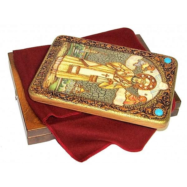 Инкрустированная настольная икона Святитель Тихон Задонский (21*29 см, Россия) на натуральном мореном дубе, в подарочной коробке