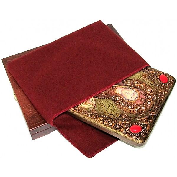 Инкрустированная рукописная икона Образ Божией Матери «Покров» (21*29 см, Россия) на натуральном мореном дубе, в подарочной коробке
