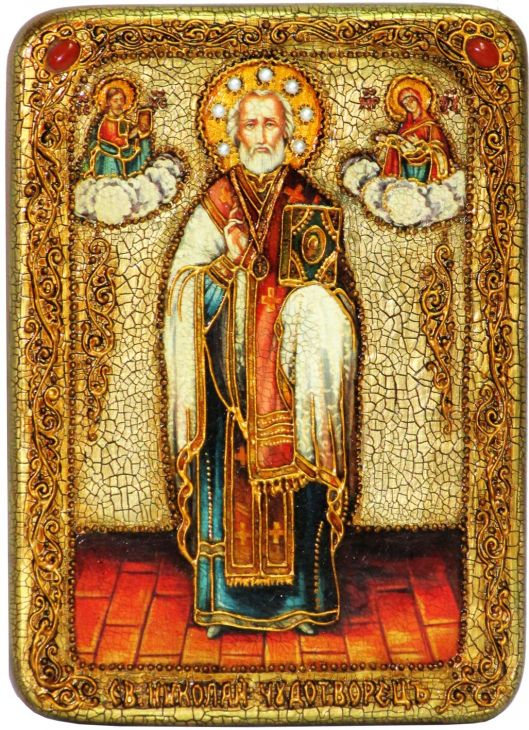 Инкрустированная аналойная икона Святитель Николай, архиепископ Мир Ликийский (Мирликийский), чудотворец (21*29 см, Россия) на натуральном мореном дубе в подарочной коробке