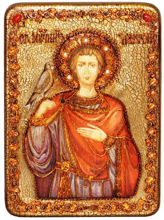 Инкрустированная аналойная икона Святой мученик Трифон (21*29 см, Россия) на натуральном мореном дубе в подарочной коробке
