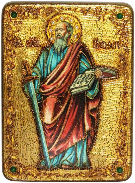 Инкрустированная аналойная икона Первоверховный апостол Павел (21*29 см, Россия) на натуральном мореном дубе в подарочной коробке