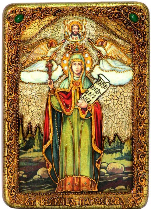 Инкрустированная аналойная икона Святая мученица Параскева Пятница (21*29 см, Россия) на натуральном мореном дубе в подарочной коробке