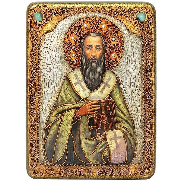 Инкрустированная икона Святитель Василий Великий (21*29 см, Россия) на натуральном мореном дубе в подарочной коробке