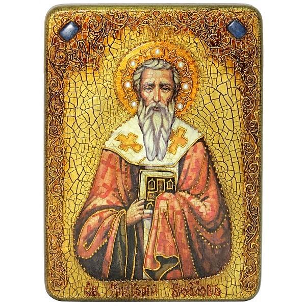 Инкрустированная аналойная икона Святитель Григорий Богослов (21*29 см, Россия) на натуральном мореном дубе, в подарочной коробке
