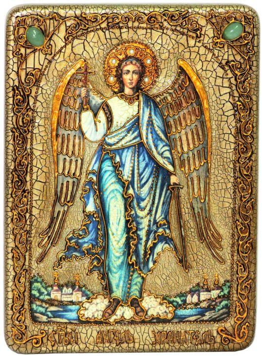 Инкрустированная подарочная икона Ангел Хранитель (21*29 см, Россия) на натуральном мореном дубе в подарочной коробке