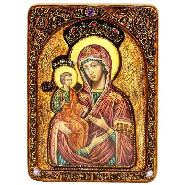 Инкрустированная Живописная икона Образ Божией Матери Троеручица (21*29 см, Россия) на натуральном кипарисе в подарочной коробке