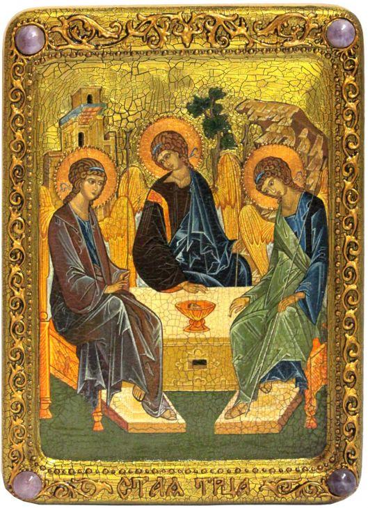 """Живописная икона """"Троица"""" на сакральном кипарисе"""