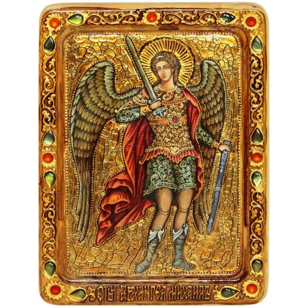 Инкрустированная Живописная икона Архангел Михаил (21*29 см, Россия) на натуральном кипарисе в подарочной коробке