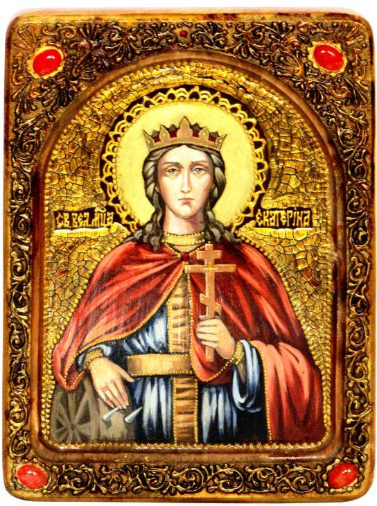 Инкрустированная Живописная икона Святая великомученица Екатерина (21*29 см, Россия) на натуральном кипарисе в подарочной коробке