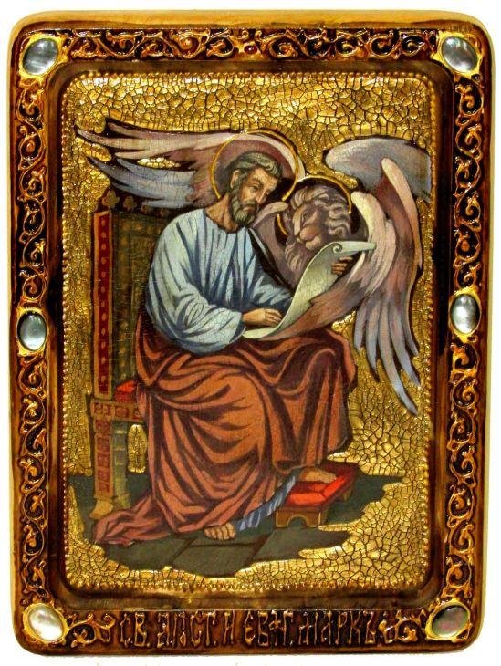 Инкрустированная Живописная икона Святой апостол и евангелист Марк (21*29 см, Россия) на натуральном мореном дубе в подарочной коробке